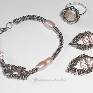 komplet z pierścionkiem perły i kryształy