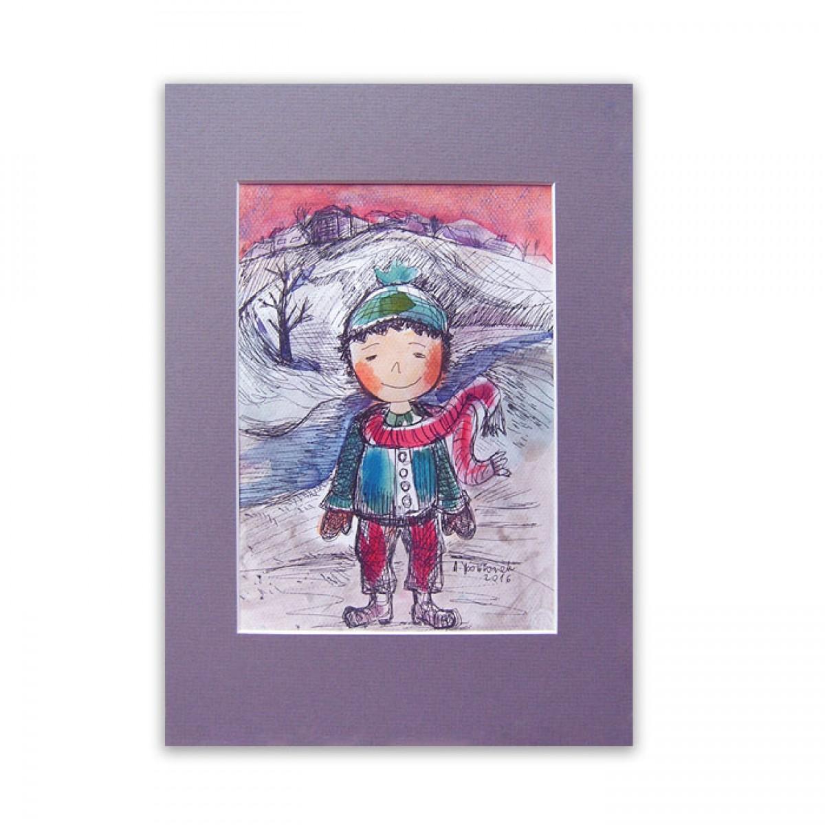 obrazek z małym chłopcem, chłopczyk akwarela, obrazek dla chłopca