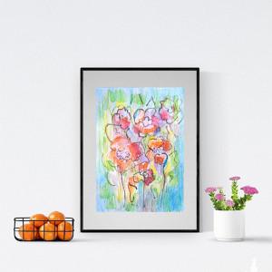 łąka rysunek, kwiaty rysunek do salonu, ładny rysunek z kwiatami, nowoczesna grafika z łąką, kolorowy rysunek z łąką