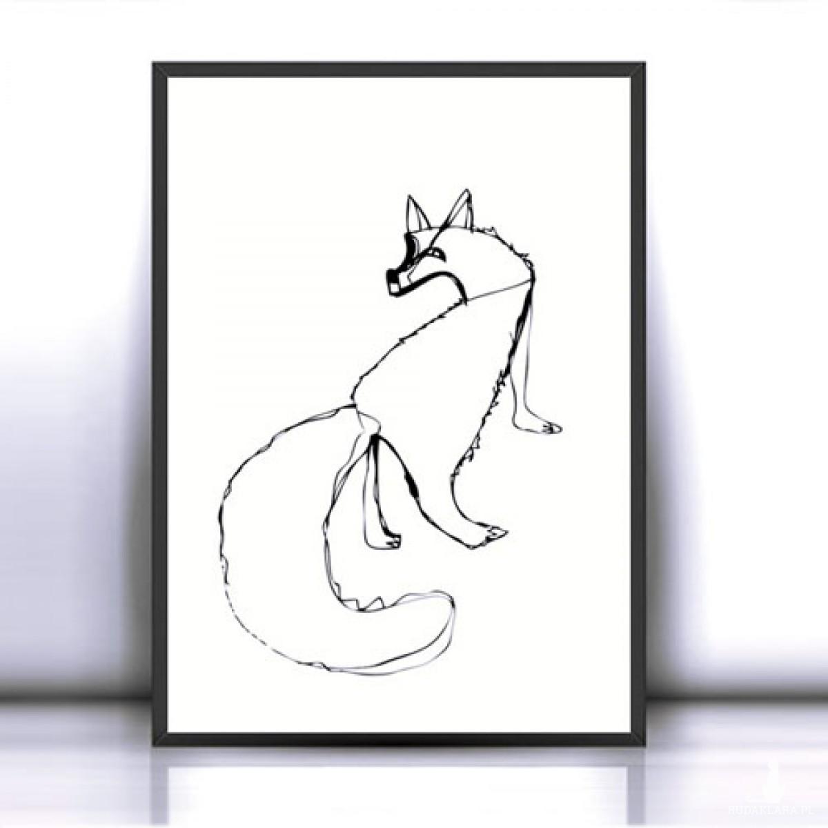 30x40 cm biało czarny plakat z liskiem, biało czarna grafika z lisem, lis plakat, obrazek w stylu skandynawskim
