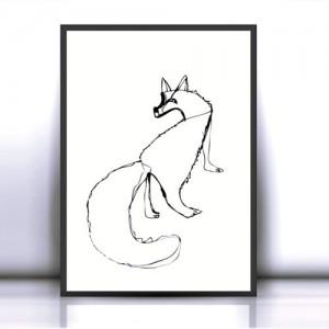 30x40 lis plakat na ścianę, grafika skandynawski styl, biało czarny plakat z lisem, lis obraz, minimalizm plakat do loftu, dekoracja w skandynawskim stylu