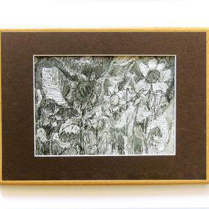 szary obraz na ścianę, rysunek  biało czarny, liście rysunek, skandynawski obraz, mała grafika do salonu, botaniczny rysunek do pokoju