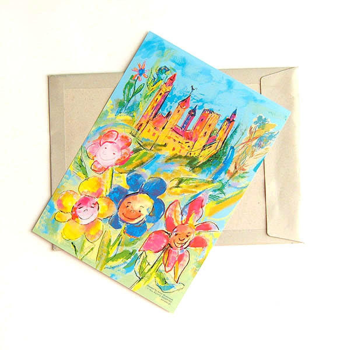 kolorowy plakat z zamkiem, plakat do dziecięcego pokoju, bajkowy obrazek, plakat dla dziewczynki