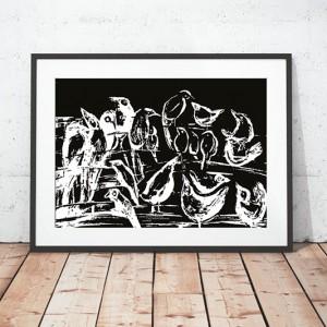 30x40 plakat z ptaszkami, czarno biały plakat na ścianę, ptaki grafika do pokoju, ptaszki obraz czarno biały, skandynawska grafika do sypialni