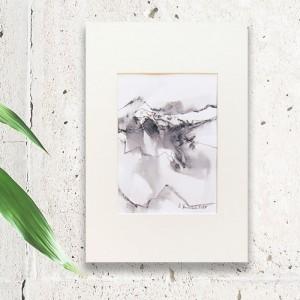 Biało czarny rysunek, grafika krajobraz górski, nowoczesny rysunek, czarno biały obraz