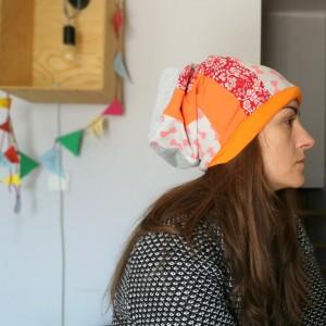 czapka materiałowa wzorzysta wiosna jesień smerfetka dresowa