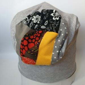 czapka materiałowa wzorzysta wiosna jesień dresowa