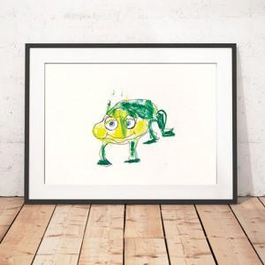 śmieszny plakat dla dzieci, żaba obrazek. plakat z żabą, plakat do pokoiku dziecka