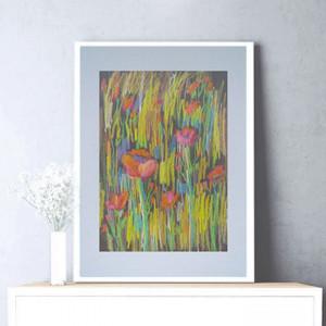 kolorowy obraz z kwiatami, rysunek z łąką, szkic łąki, rysunek kwiaty, ładny szkic do sypialni