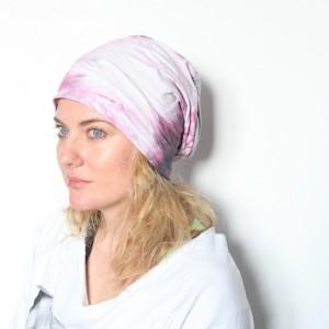 czapka damska ręcznie farbowana