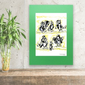grafika z ptaszkami na zielonym tle, fajny obrazek do pokoju dziewczynki, plakat ptaki