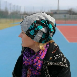 czapka patchworkowa króliki orient etno