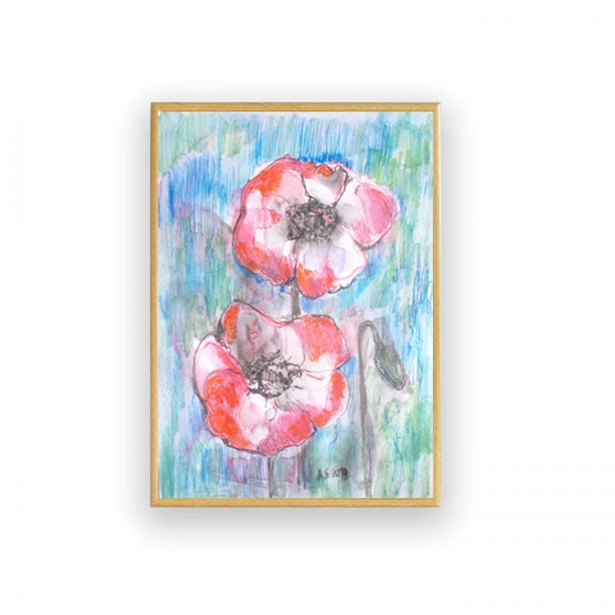 obraz malowany ręcznie, oprawiony szkic z makami, akwarela maki, kwiaty akwarela, łąka obraz do salonu