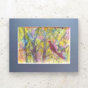 Kolorowy obraz do pokoju, ładny rysunek oryginał, kolorowy szkic