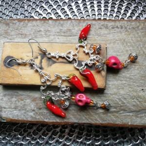 kolczyki czaszki papryczka chili indie koral orient boho