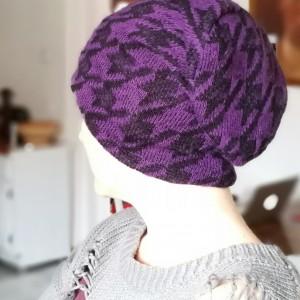 czapka wełna fiolet uniwersalna