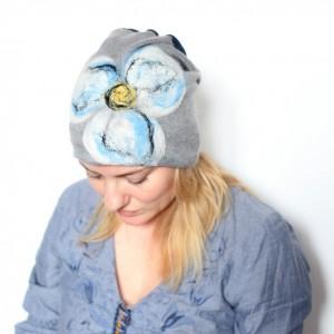czapka handmade wełniana filcowana wełną merynosów