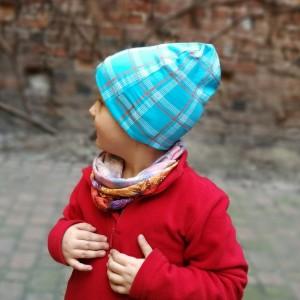 czapka dziecięca dresowa miękka w kratkę