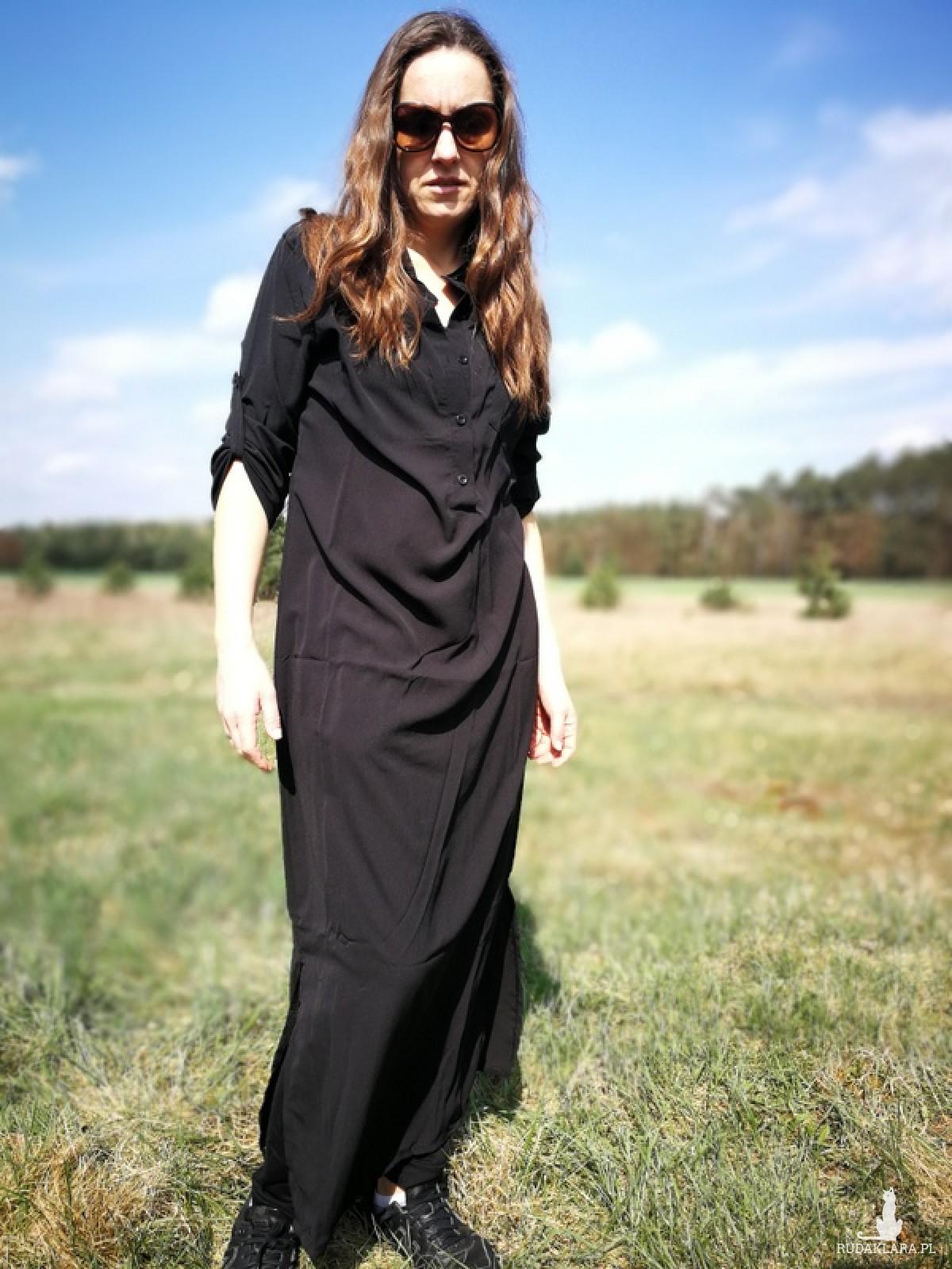 wspaniała sukienka czarna szmizjerka na lato