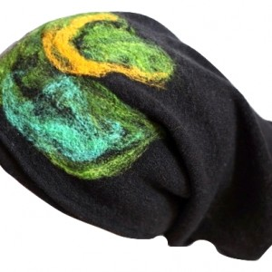 czapka handmade czesanką filcowane czapki wełniane wir