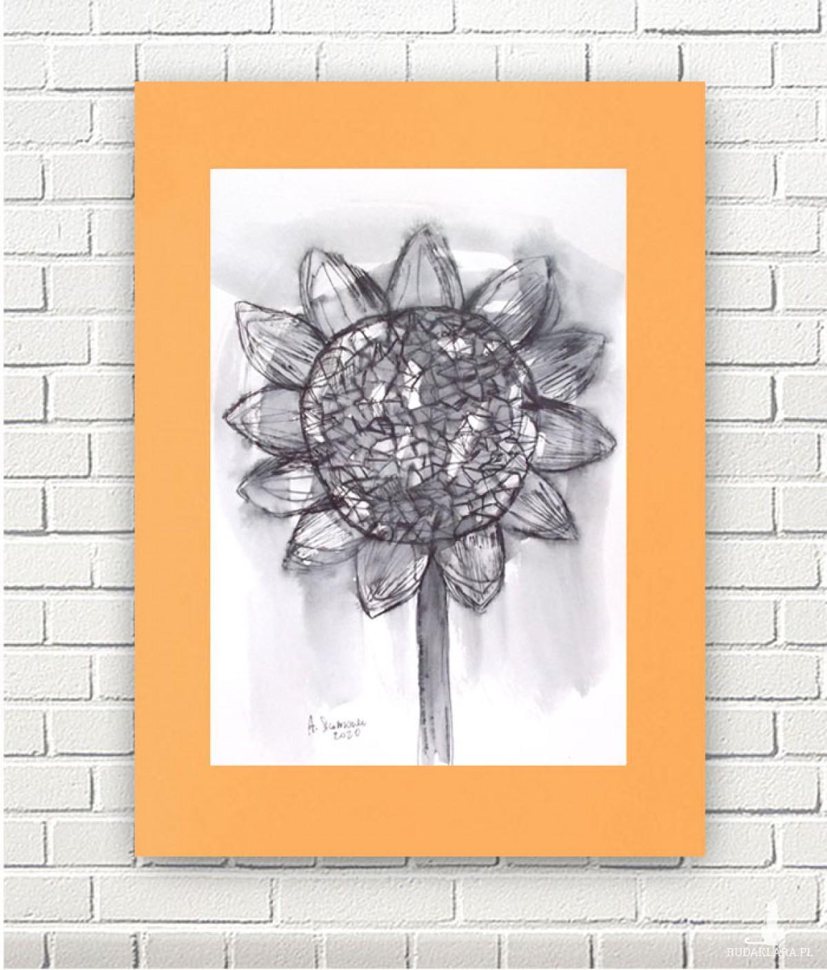 nowoczesna grafika do salonu, ładny rysunek skandynawski styl, słonecznik szkic biało czarny