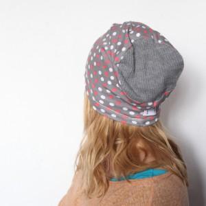 czapka damska dresowa handmade w kropki