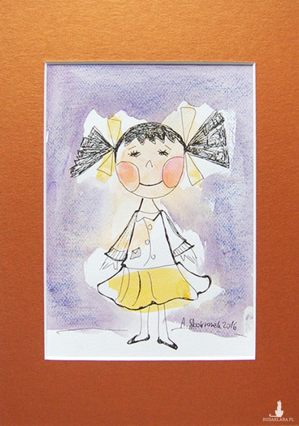 rysunek z dziewczynką, obrazek z dziewczynką, obrazek dla dziewczynki, ręcznie malowany obrazek
