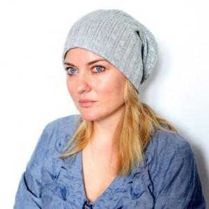 czapka damska srebrna handmade