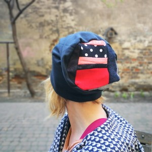 patchworkowa kolorowa damska czapka etno patchwork
