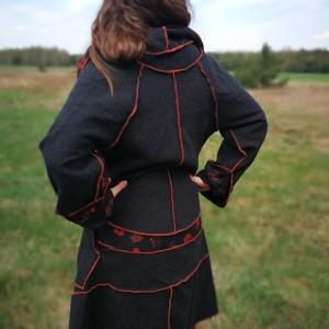 płaszcz wełniany patchworkowy damski wiosenny
