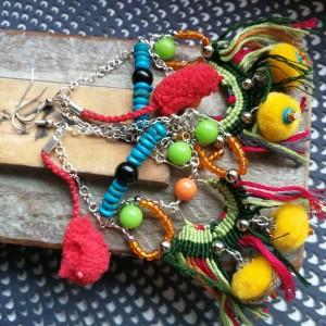 kolczyki pompony etno boho handmade maroko
