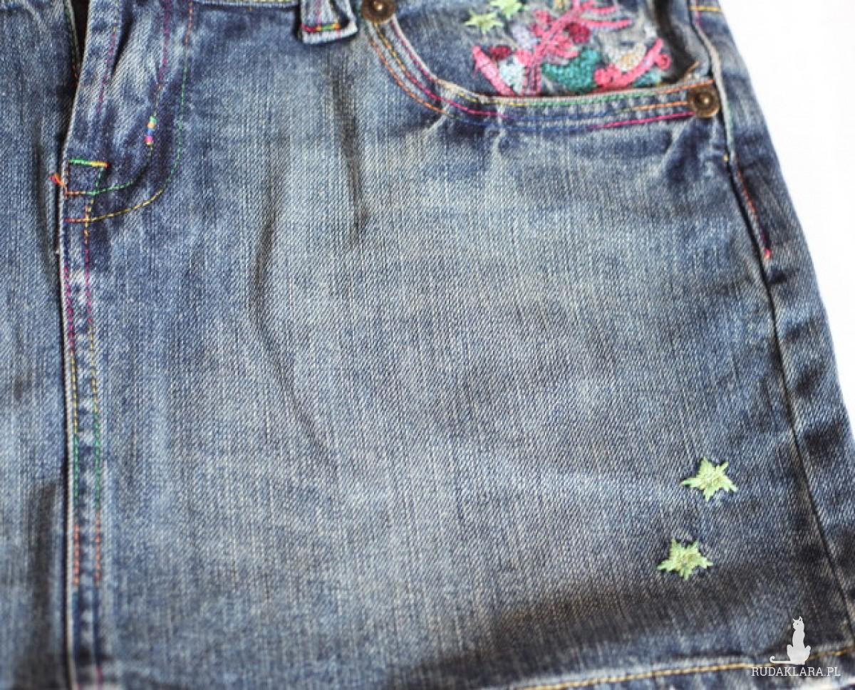 spodnica jeansowa denim haftowana