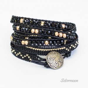 Black and Gold Bransoleta boho w stylu Chan Luu