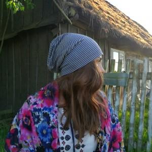 czapka wiosenna dzianina dresówka handmade paski unisex