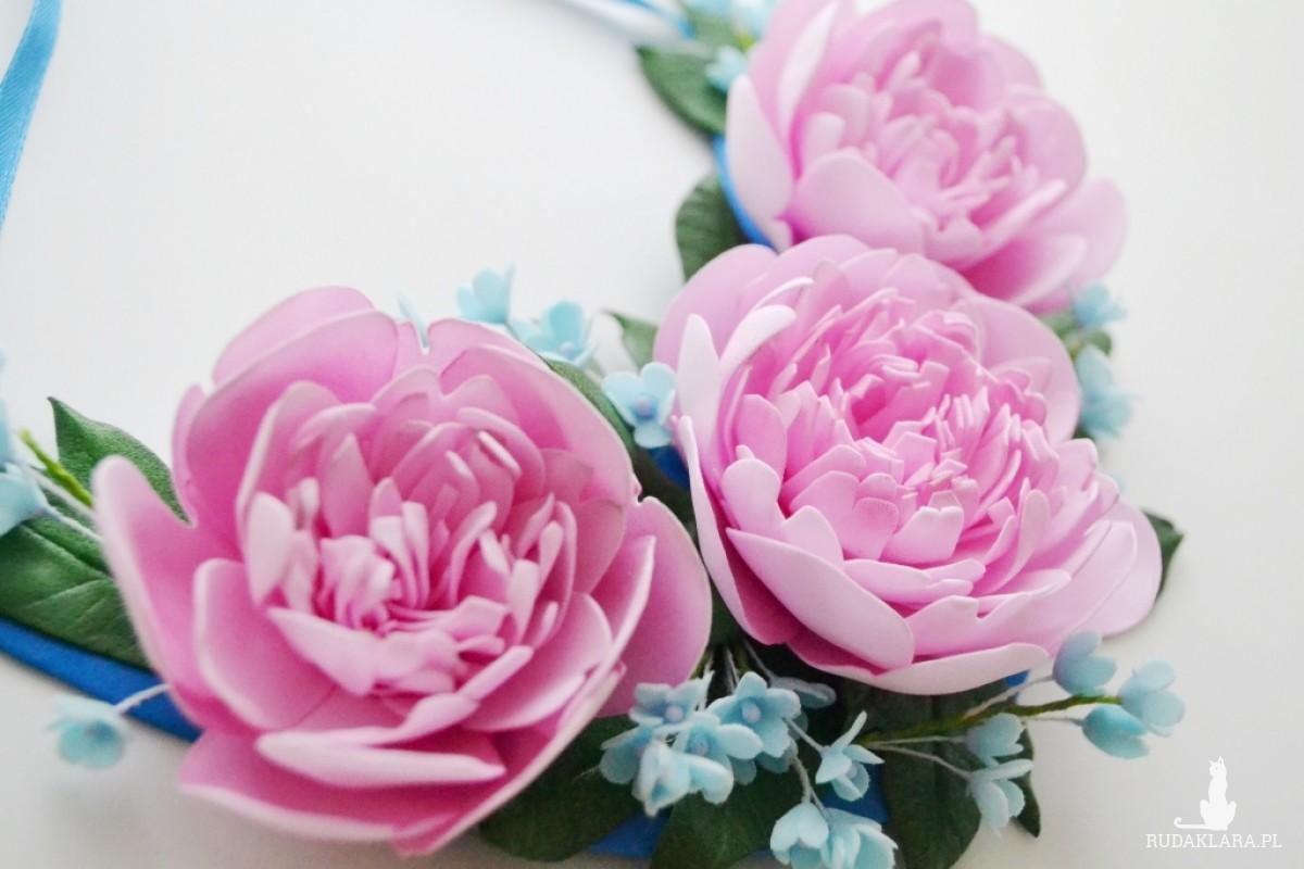 Naszyjnik piwonie i polne kwiaty