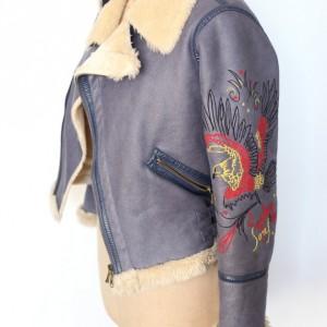 kurtka damska haftowana na futerku