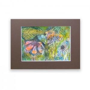Kolorowy rysunek z ogrodem, obrazek ręcznie malowany, łąka rysunek