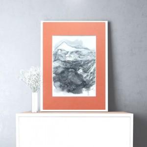 Górski pejzaż obrazek, rysunek z górami, szkic górski, rysunek oryginał