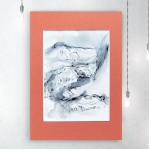 rysunek z krajobrazem górskim, czarno biały szkic, grafika z górami, górski szkic n19