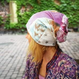 czapka smerfetka długa wzory patchwork handmade