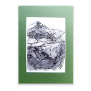 Górski widok rysunek, górski krajobraz szkic, biało czarny obrazek z górami n20
