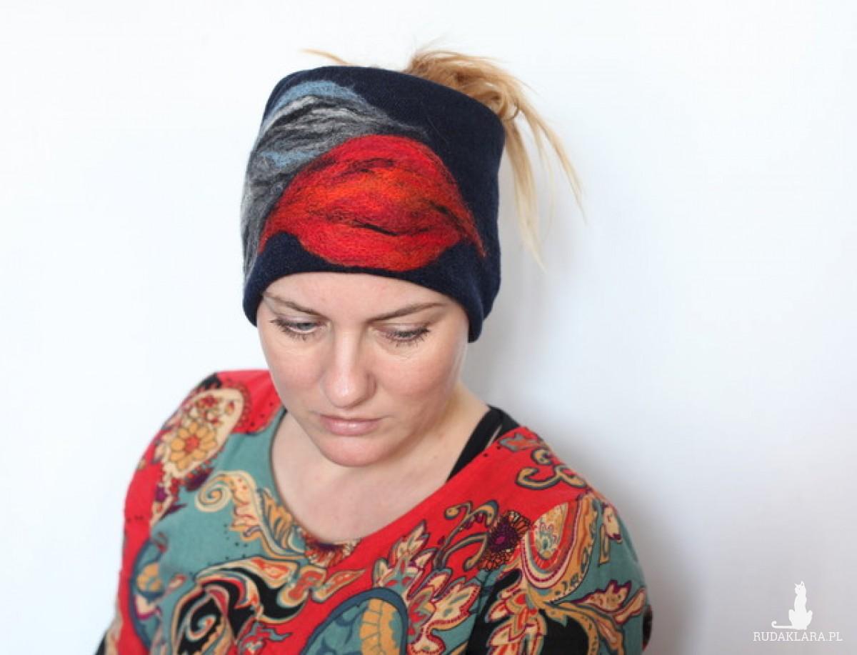 opaska damska haftowana na podszewce