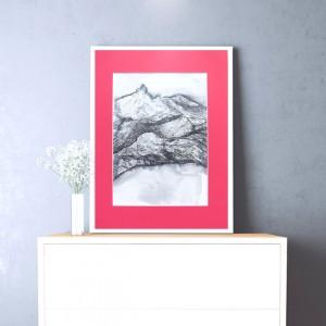 rysunek z górami, obraz pejzaż górski, biało czarny  szkic do salonu, czarno biała grafika do sypialni, skandynawski obraz