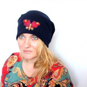 czapka dresowa damska wiosenna z motylem