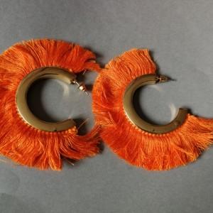 kolczyki pomarańczowe boho duze