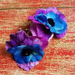klipsy kwiatowe lekkie duże kolorowe- w jednej chwili umarł król motyli