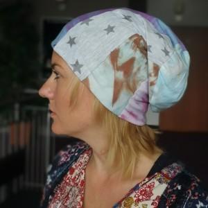 czapka damska wiosenno-rowerowa szyta patchworkowo