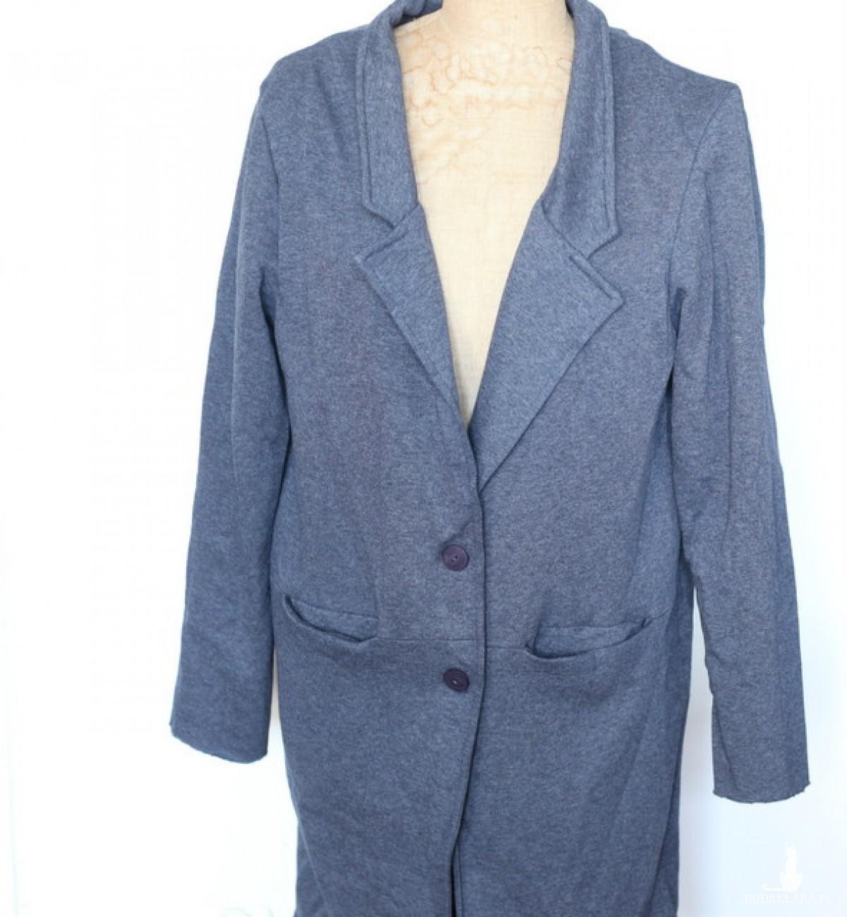 granatowy damski dzianinowy dresowy płaszcz