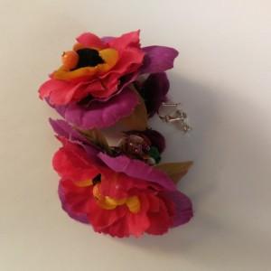 klipsy kwiatowe duże lekkie handmade