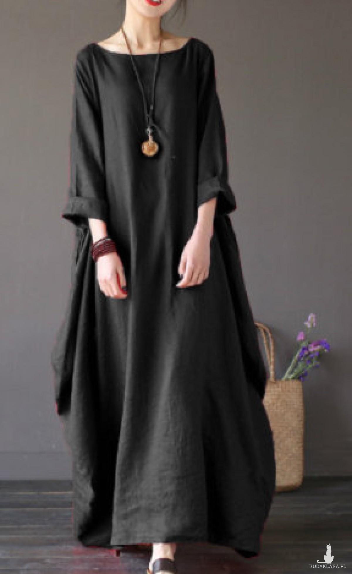 czarna sukienka oversize bawełna XL